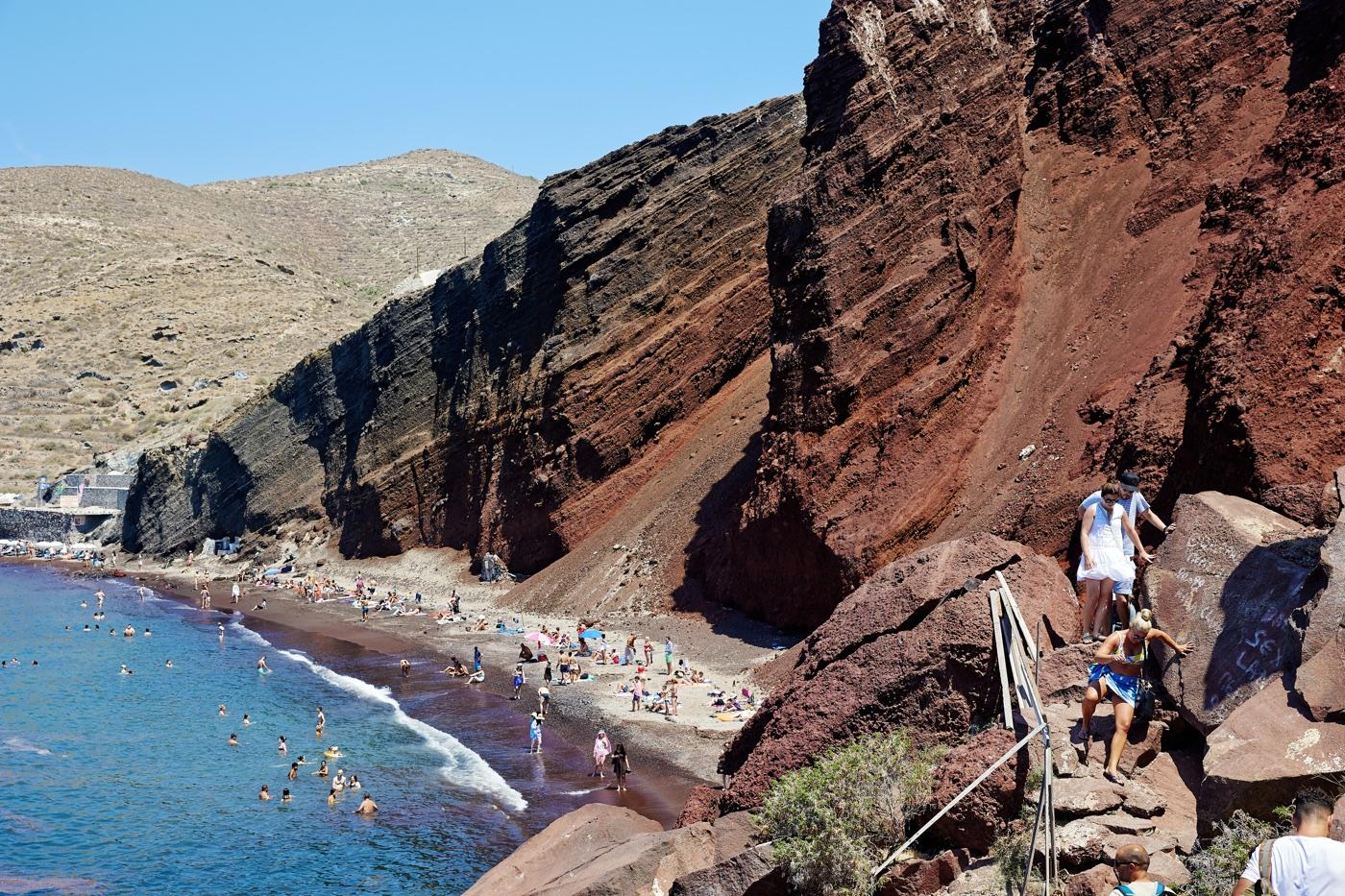 czerwona plaża Santorini